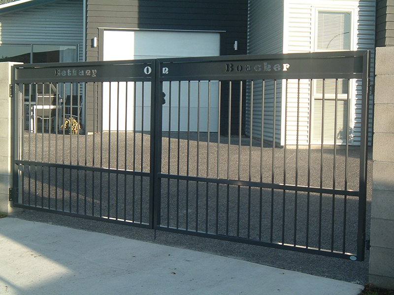 Custom made gate with laser cutout