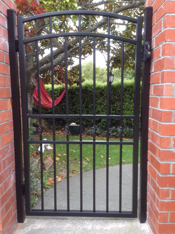 Custom style pedestrian gate with inner feature
