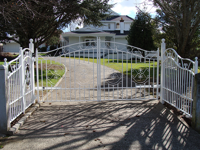 Open railed curved top gates with scroll inserts